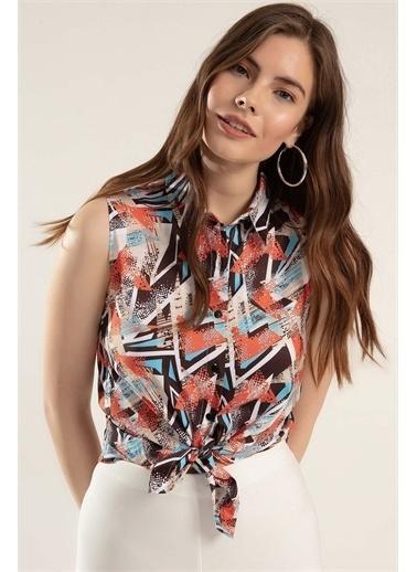 Pattaya Pattaya Kadın Baskılı Sıfır Kol Gömlek PTTY20S-450 Renkli